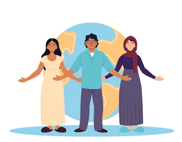 世界の球のデザインのインドのイスラム教徒の女性と男性の漫画