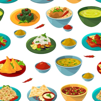Indian national foods. vector seamless pattern indian food background illustration