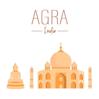 Indian national landmarks vector poster template.