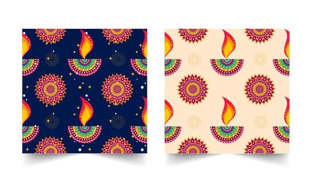 インドの石油ランプ(ディヤ)と花柄の装飾が施された背景の2色オプション。