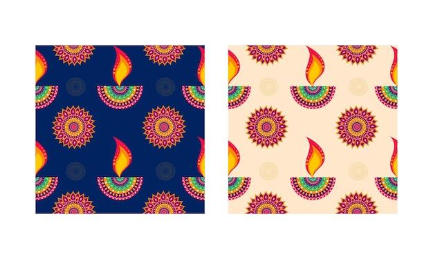 Индийская масляная лампа (дия) и цветочный узор украшен фоном в двух вариантах цвета.