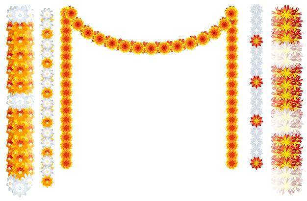 Indian orange flower garland mala frame isolated