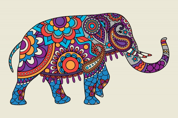 Indian ornate elephant colored illistration
