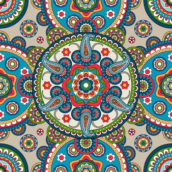 Indian paisley mandala seamless pattern