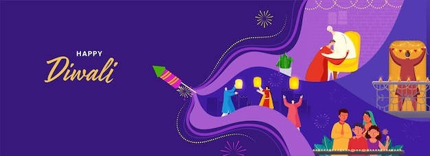 Indian people celebrating diwali festival with firecrackers on purple background.