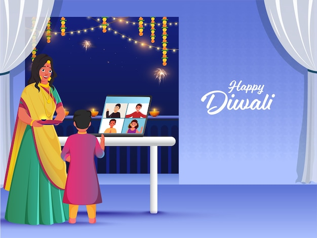 ディワリ祭の際にビデオ通話でつながり、希望するインド人