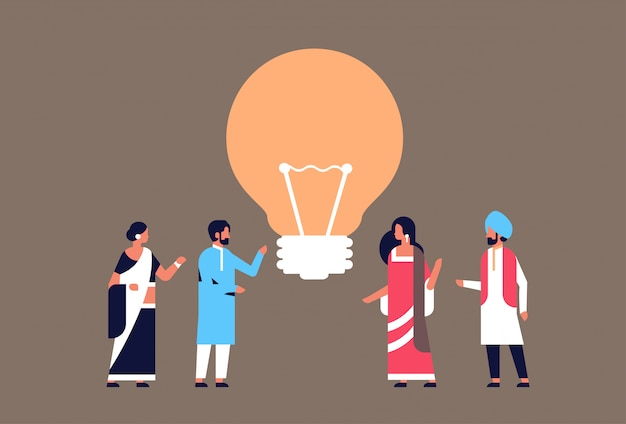 Indian people group brainstorming new idea light lamp innovation banner