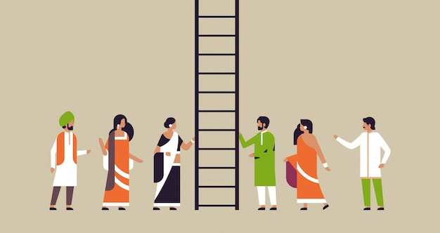 Indian people group climbing career ladder new job opportunities