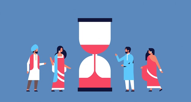 Indian people group hourglass time management deadline banner