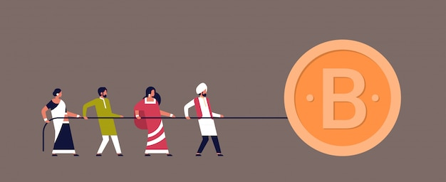Indian people team pulling rope bitcoin mining concept cartoon character
