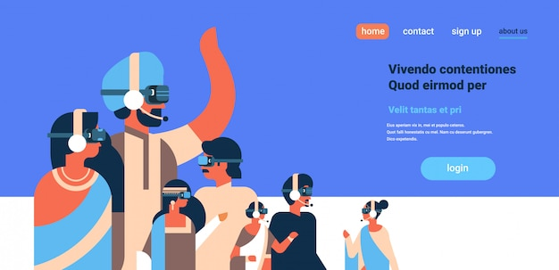 Indian people wearing vr glasses virtual reality concept headphones team
