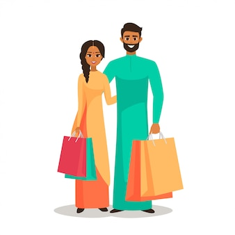 Indian people with shopping bags