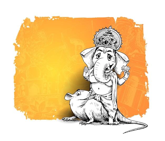 インドの宗教祭ガネーシュチャトゥルティテンプレート、手描きスケッチベクトルイラスト。