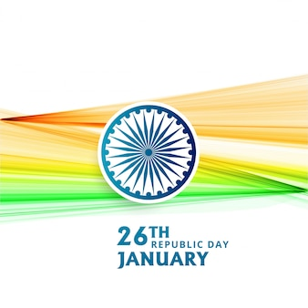 Indian republic day 26 january with flag wave
