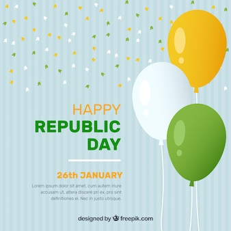 Indian republic day background with balloons