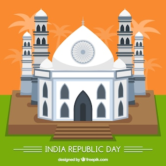 Indian republic day background with flat taj mahal