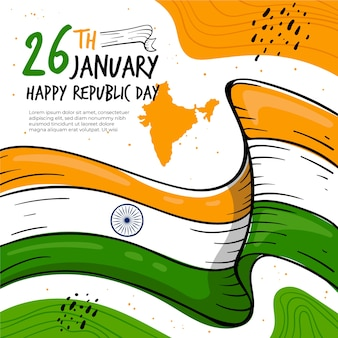 Indian republic day colorful drawing