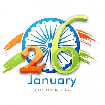 Indian republic day concept with gliter text 26th january on ashoka chakra background.