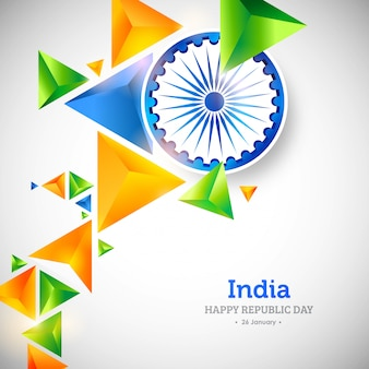 Indian republic day creative 3d polygonal background