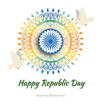 Indian republic day design with colorful wheel