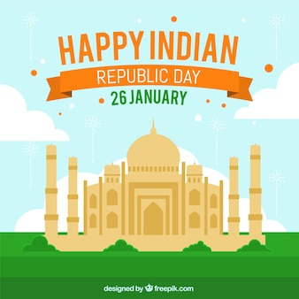 Indian republic day design with taj mahal