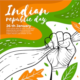 Indian republic day drawing concept