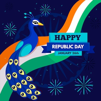 Indian republic day flat design background with peacock