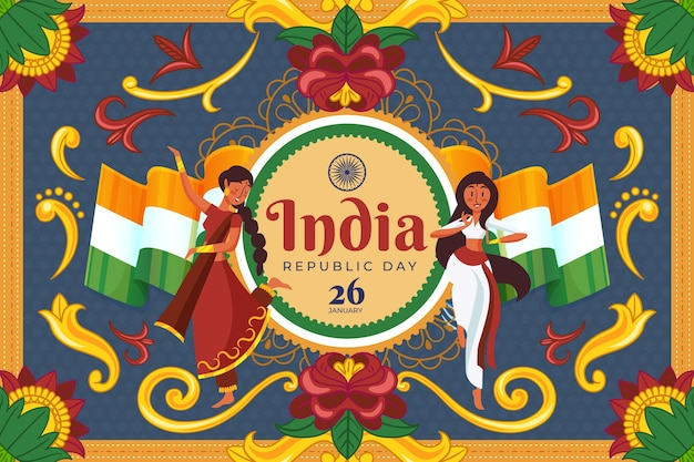 Indian republic day in flat design with dancers