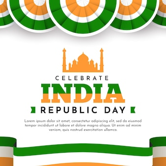 Indian republic day in flat design with taj mahal and flag