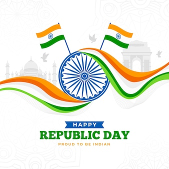 Indian republic day in flat design