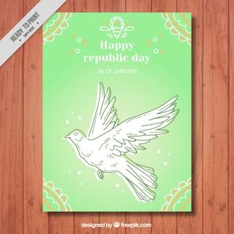 鳩のスケッチと挨拶インド共和国の日