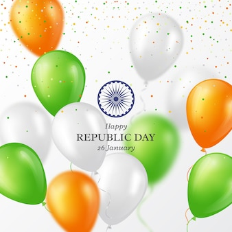 Priorità bassa di festa di giorno della repubblica indiana. manifesto o striscione di celebrazione, carta. palloncini a tre colori con coriandoli. illustrazione vettoriale.