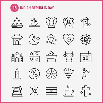 Indian republic day line icon pack