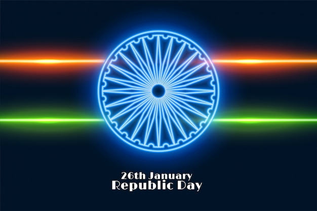 Indian republic day in neon style