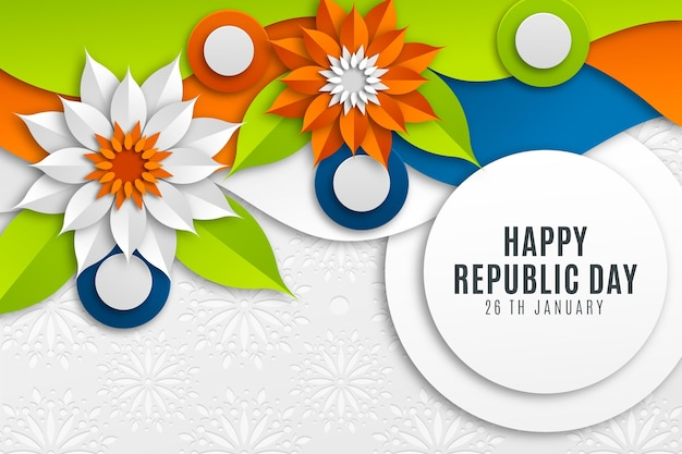 Indian republic day in paper style