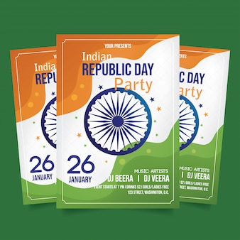 Indian republic day party flyer template vector
