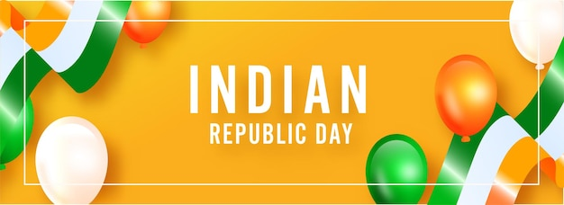 Indian republic day text with glossy tricolor balloons and ribbons
