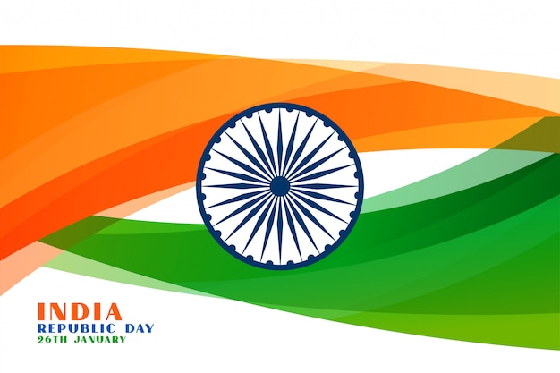Indian republic day wavy flag background