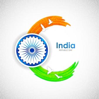 インドのトリコロールストロークと飛んでいる鳩とインド共和国の日