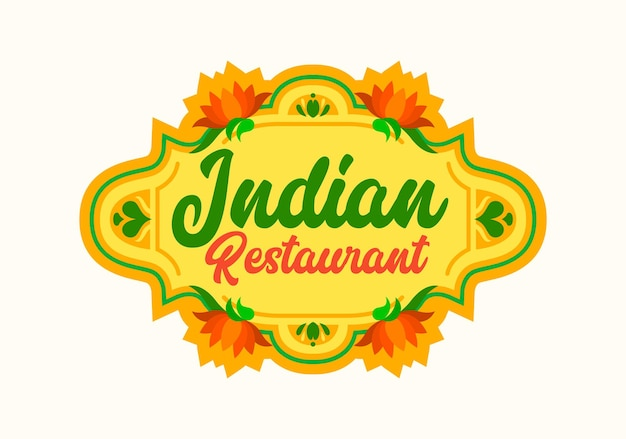 Indian restaurant emblem with blooming lotus flowers with orange petals and green leaves. food of india label for cafe menu design or national cuisine festival isolated vector illustration, icon