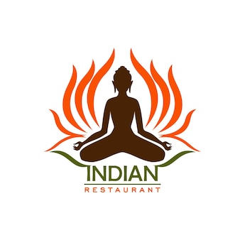 Indian restaurant icon of asian cuisine and traditional food of india