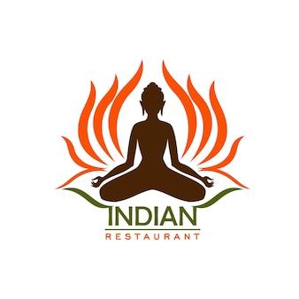 アジア料理とインドの伝統的な料理のインド料理レストランのアイコン