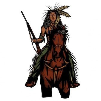 Indian ridding horse hanging gun