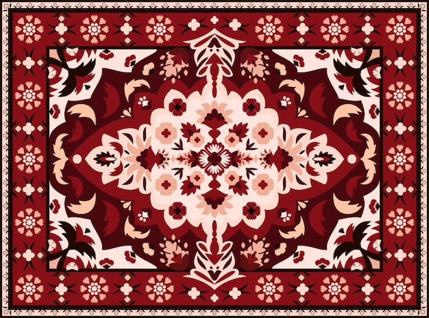 インドの敷物。ペルシャのテキスタイルカーペットのデザイン、ヴィンテージの東部の刺繡のための王室の唐草模様。王室の幾何学的なテクスチャの装飾が施されたインテリアのベクトルエスニック高級生地