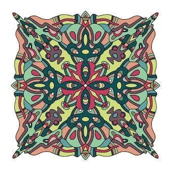 インドの敷物の部族の装飾パターン。アステカタオル、ヨガマット。ベクトルレースヘナタトゥースタイル。テキスタイル、挨拶の名刺の背景、電話ケースの印刷に使用できます-ベクトルイラスト
