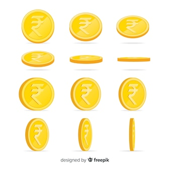 Indian rupee coin set in different positions