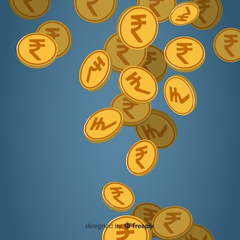 インドのルピー硬貨は、背景を落ちる