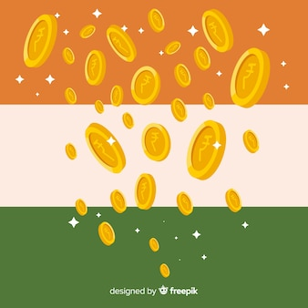 Indian rupee coins falling background