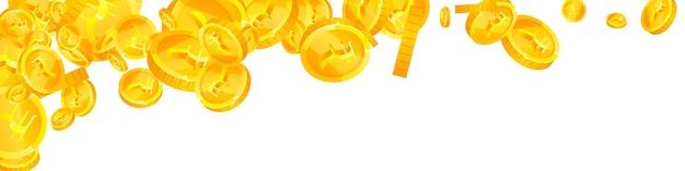 Падение индийских рупий. необычно разбросанные монеты inr. деньги индии. подавляющее понятие джекпота, богатства или успеха. векторная иллюстрация.