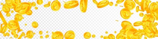 Падение индийских рупий. ослепительно разбросанные монеты inr. деньги индии. образное понятие джекпота, богатства или успеха. векторная иллюстрация.